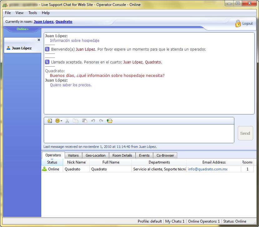 web de chat