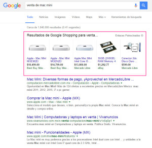 """Búsqueda en la Red de Búsqueda de Google utilizando la palabra clave """"venta de mac mini""""-"""