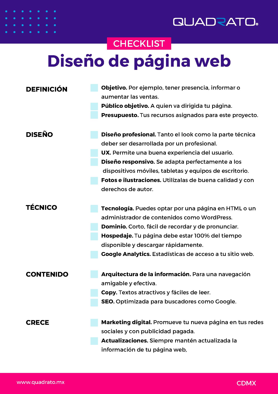 Checklist para el diseño de tu página web